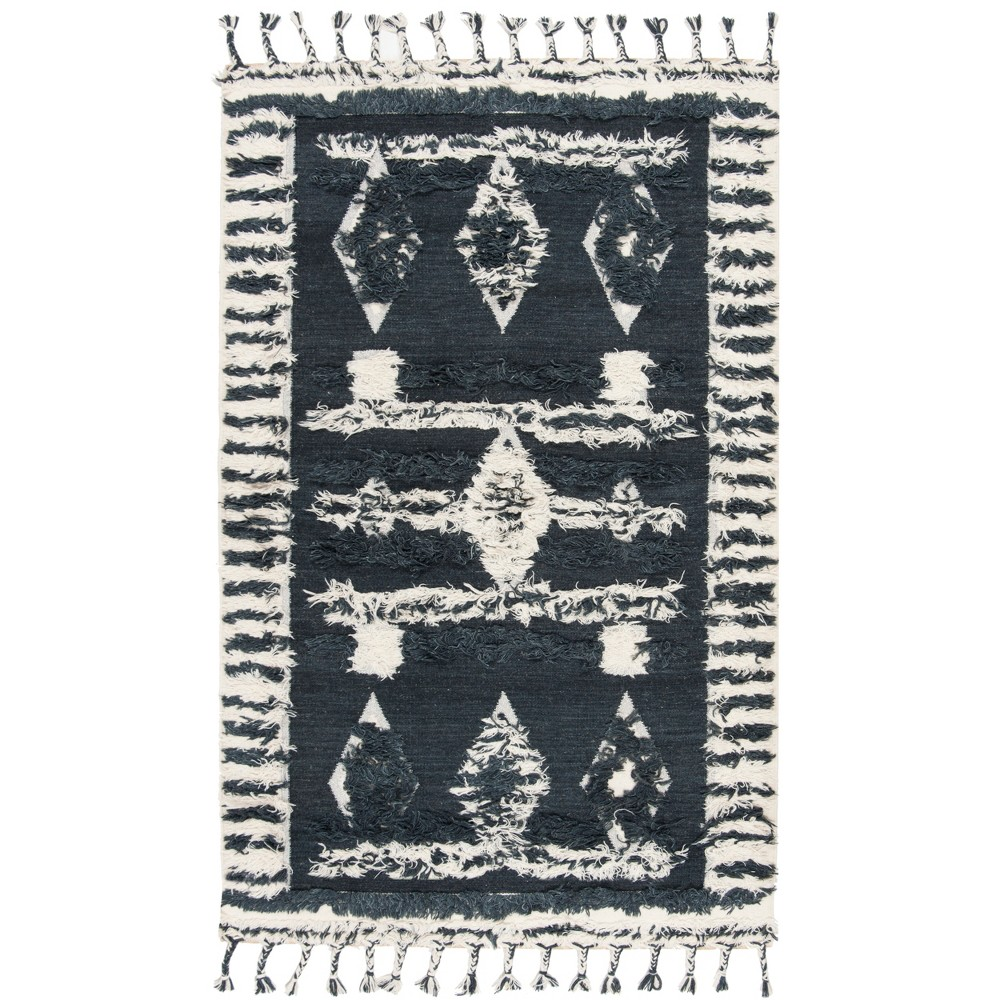 6 39 X9 39 Geometric Design Knotted Area Rug Charcoal Ivory Safavieh