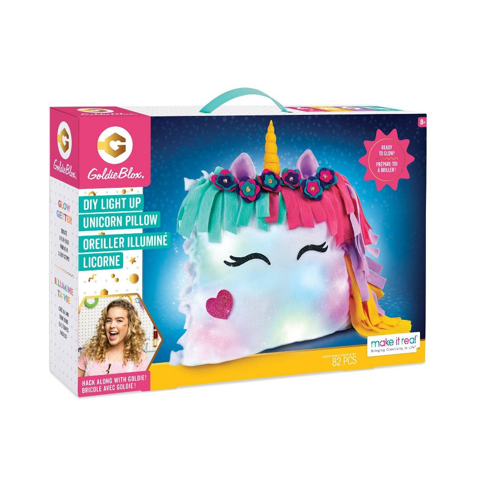 Image of Made it Real Goldie Blox Glowing Unicorn Pillow Kit