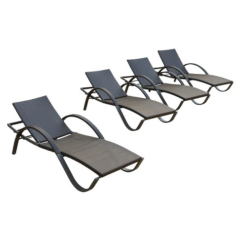 Deco 4-Piece Wicker Stacking Chaise Lounge Set - image 1 of 7