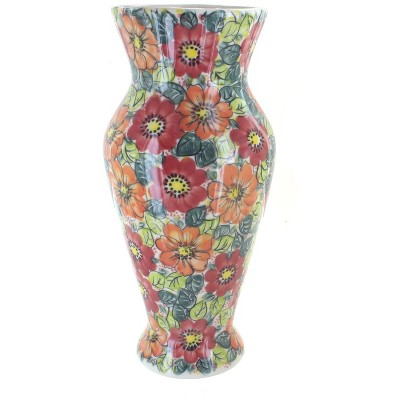 Blue Rose Polish Pottery Marigold Surprise Tall Vase
