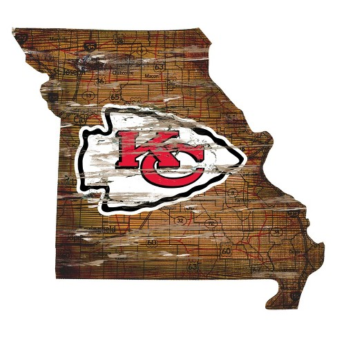 Nfl Kansas City Chiefs 12 State Map Wood Sign Target