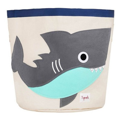 Extra Large Round Shark Canvas Kids Toy Storage Bin - 3 Sprouts