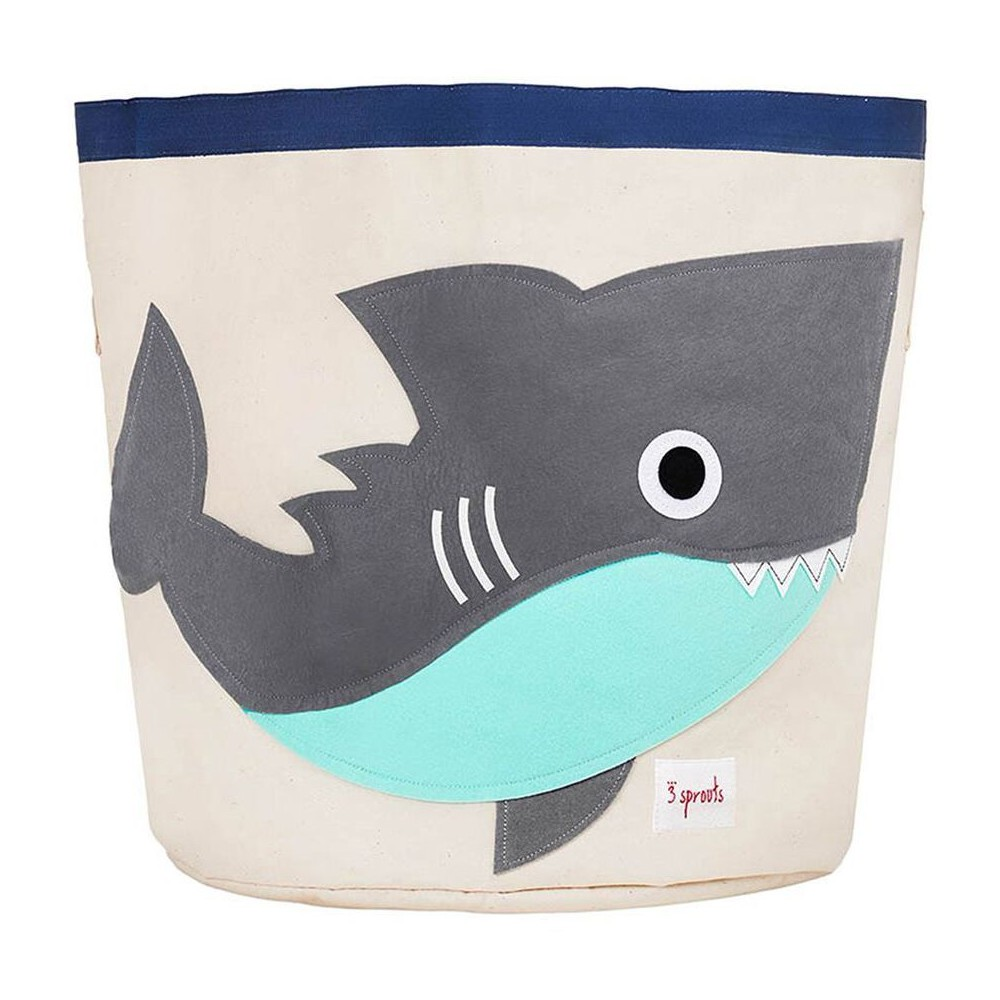 Image of Extra Large Round Shark Canvas Kids Toy Storage Bin - 3 Sprouts
