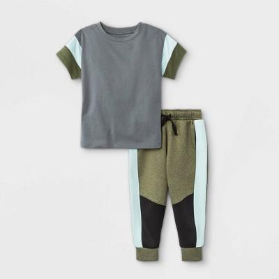 Toddler Boys' 2pc Activewear Short Sleeve T-Shirt and Jogger Pants Set - Cat & Jack™ Olive Green 2T