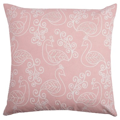 Pale Pink and White Preening Peacocks Throw Pillow (20 x20 )- Rizzy Home