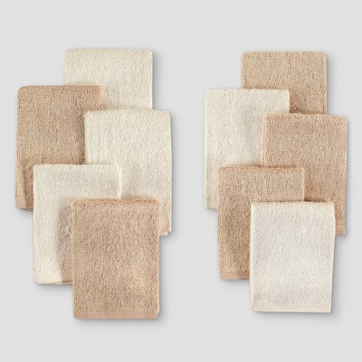Hudson Baby 10pk Rayon from Bamboo Washcloths - Beige One Size
