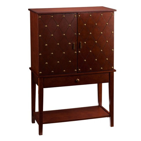 Weley Nailhead - Studded Traditional Bar Cabinet - Walnut With Antique Bronze - Aiden Lane - image 1 of 12