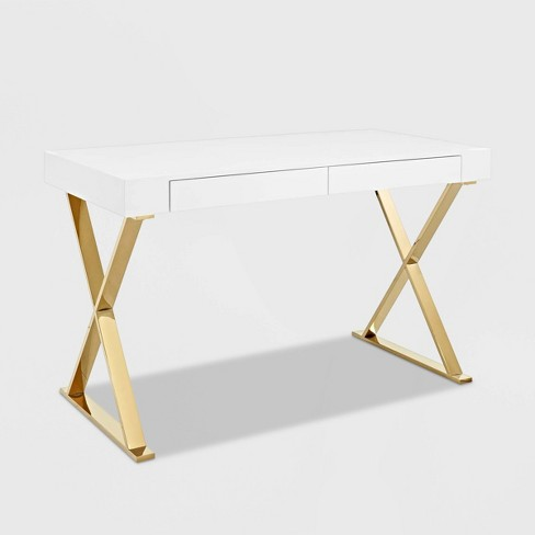 Sector Office Desk White Gold Modway