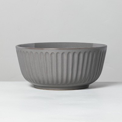 Large Fluted Stoneware Serve Bowl Gray - Hearth & Hand™ with Magnolia