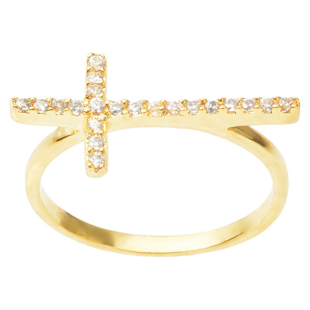 2/5 CT. T.W. Round Cut CZ Pave Set Cross Ring in Sterling Silver - Gold (5)