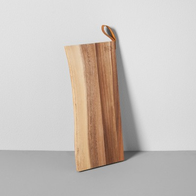 Live-Edge Acacia Cutting Board with Leather Handle Large - Hearth & Hand™ with Magnolia
