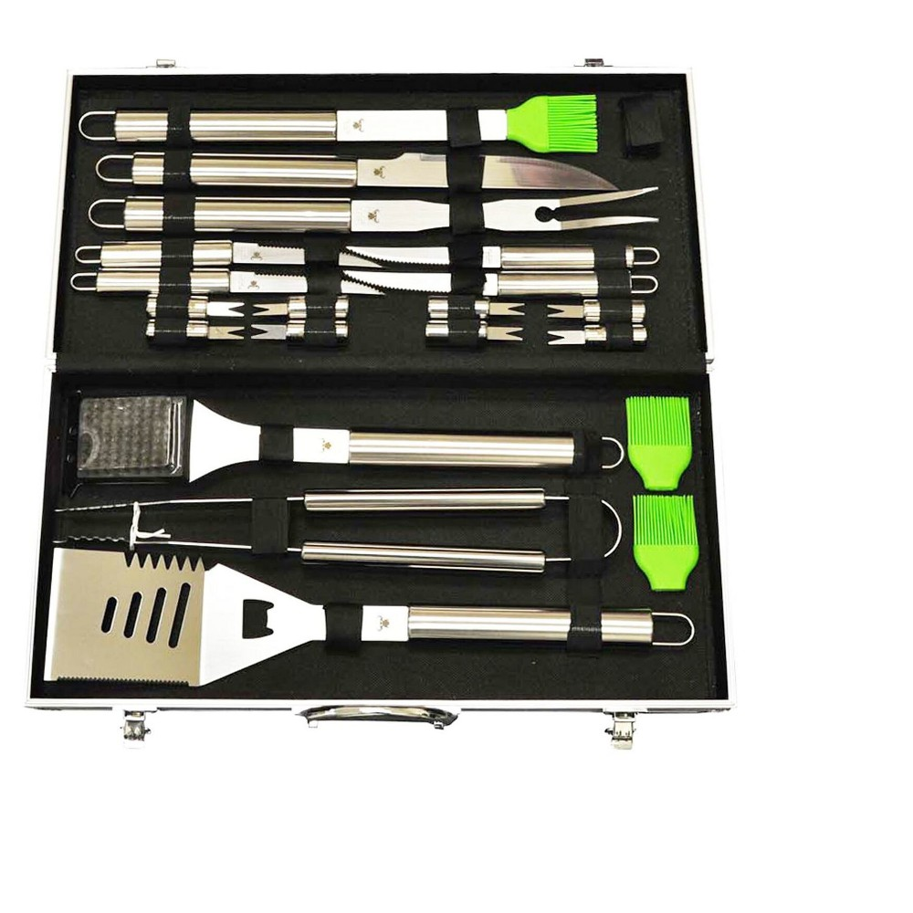 Image of 20pc Stainless - Steel Bbq Tool Set with Aluminum Storage Case - G & F, Light Silver