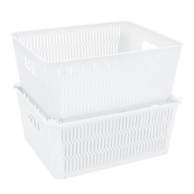 Simplify 2 Stack Slide Storage Tote Baskets White