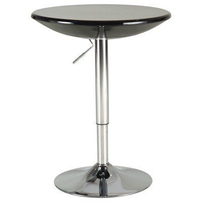 "HOMCOM 24.5"" Round Cocktail Bar Table Metal Base Tall Bistro Pub Desk Adjustable Counter Height Black Silver"