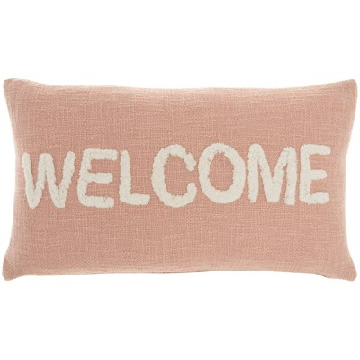 """12""""x21"""" Life Styles 'Welcome' Tufted Lumbar Throw Pillow - Mina Victory"""