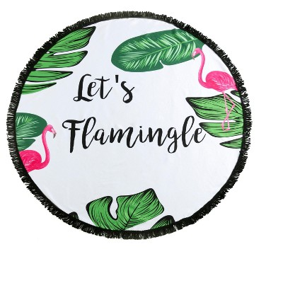 """Shiraleah """"Let's Flamingle"""" Round Beach Towel with Bag, Multi"""