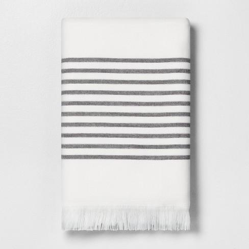 Core Stripe Bath Towels Railroad Gray - Hearth & Hand™ with Magnolia - image 1 of 4