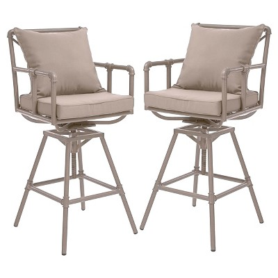 Northrup Pipe Set of 2 Iron Adjustable Barstool with Cushions - Gray - Christopher Knight Home