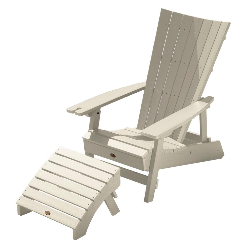 Image of Manhattan Beach Adirondack Patio Chair with Ottoman & Wine Glass Holder Whitewash - highwood