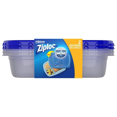 Ziploc Divided Rectangle Containers with Smart Snap Technology - 2ct