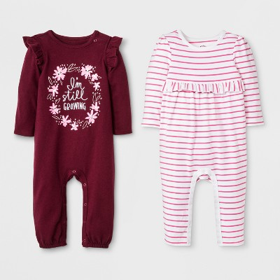 Baby Girls' 2pk Long Sleeve Ruffle Romper Set - Cat & Jack™ Burgundy/White Stripe 6-9M