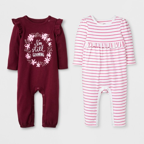 d9e64a0745 Baby Girls  2pk Long Sleeve Ruffle Romper Set - Cat   Jack™ Burgundy White  Stripe