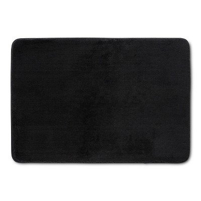 "24""x17"" Velveteen Memory Foam Bath Rug Black - Room Essentials™"