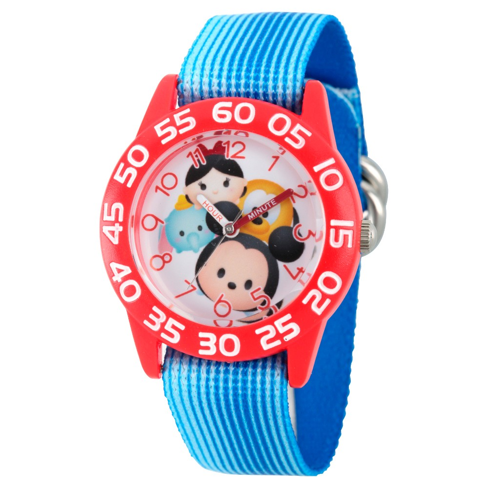Image of Girls' Disney Tsum Tsum Mickey Mouse/Dumbo/ Mike Wazowski and Snow White Red Plastic Watch - Blue, Girl's