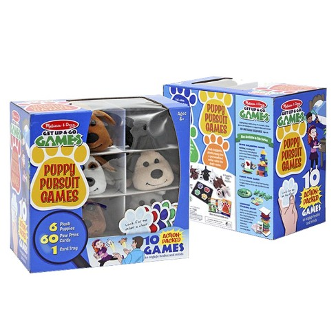 Melissa & Doug® Puppy Pursuit Games - 6 Stuffed Dogs, 60 Cards - 10 Games With Variations - image 1 of 3