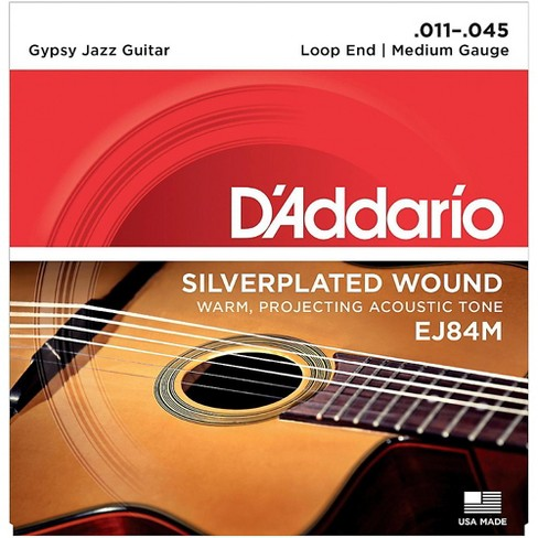 D'Addario EJ84M Gypsy Jazz Silver Wound Loop End Medium Guitar Strings - image 1 of 4