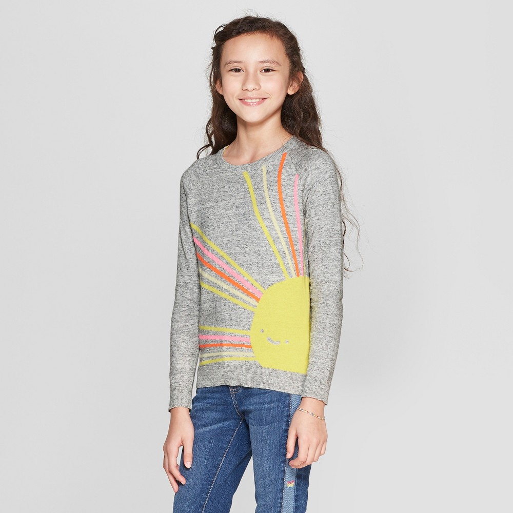 Girls' Sunshine Pullover Sweater - Cat & Jack Heather Grey S, Gray