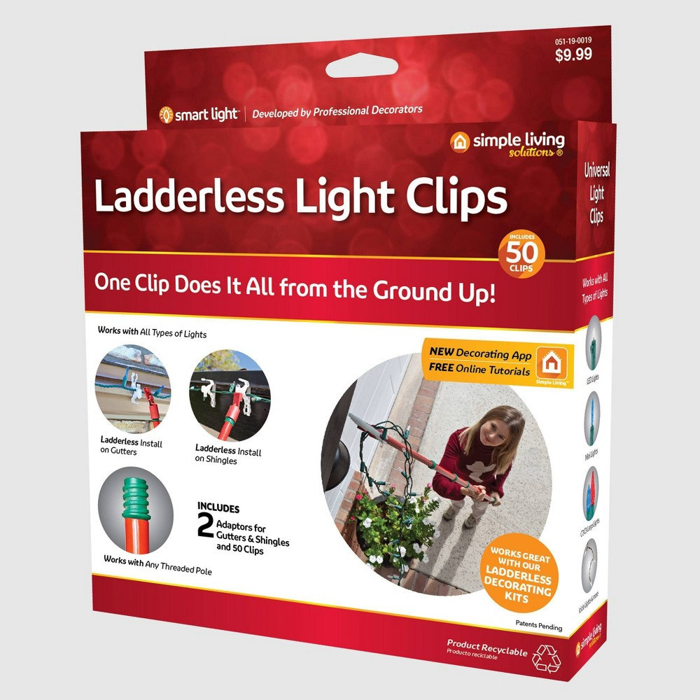 Image of 50ct String Light Ladderless Light Clips Hanging Set Clear - Simple Living