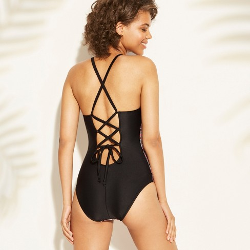 96e8960e043 Women s Strappy Lace-Up Back One Piece Swimsuit - Kona Sol™   Target