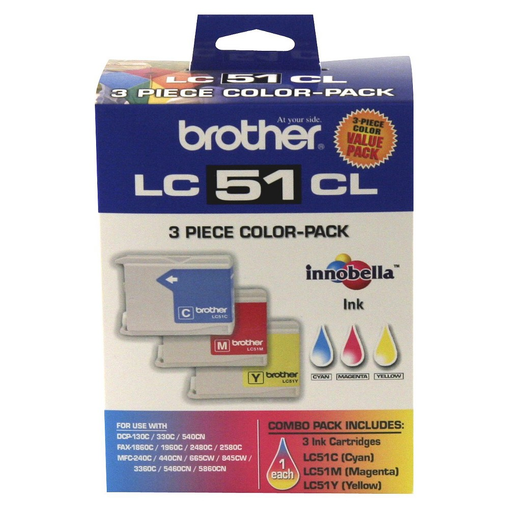 Brother LC51 C/M/Y 3pk Ink Cartridges - Cyan, Magenta, Yellow (LC513PKC), Blue/Pink/Yellow