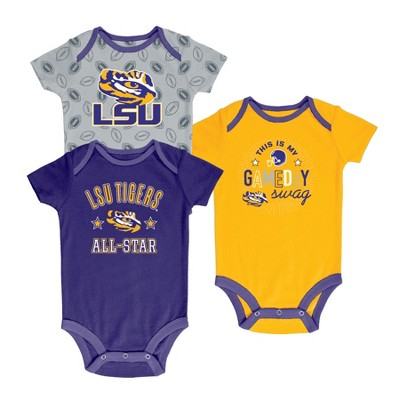 LSU Tigers Baby Boy Short Sleeve 3pk Bodysuit - 0-3M