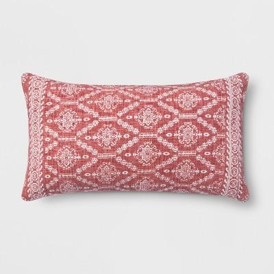 Block Print Oversize Lumbar Throw Pillow Red - Threshold™