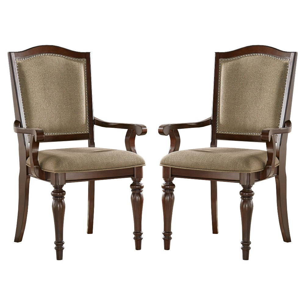 Marist Nailhead Accent Dining Arm Chair (Set of 2) - Brown - Inspire Q
