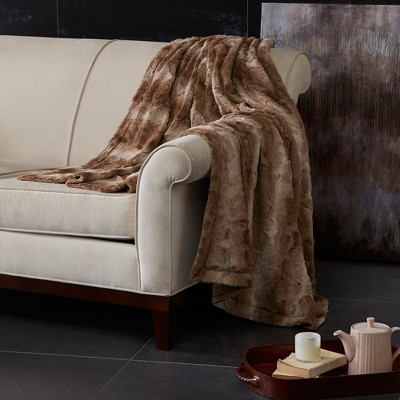 Tan Marselle Oversized Faux Fur Throw (60 X70 )