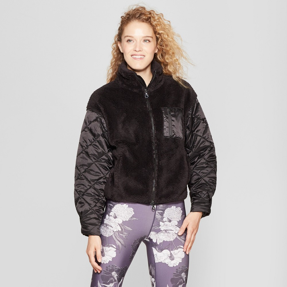 Women's Sherpa Full Zip Jacket with Quilted Sleeves - JoyLab Black XL