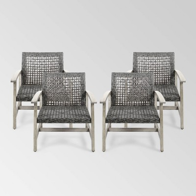 Hampton 4pk Wood & Wicker Mid-Century Club Chairs - Light Gray/Black - Christopher Knight Home