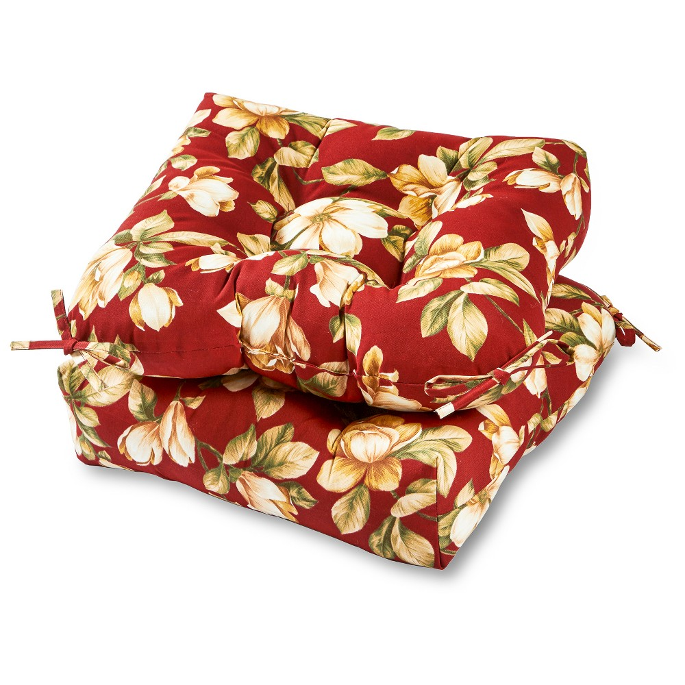 Set of 2 Roma Floral Outdoor Seat Cushions - Greendale Home Fashions