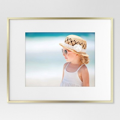 "16"" x 20"" Matted to 11"" x 14"" Thin Metal Gallery Frame Brass - Project 62™"