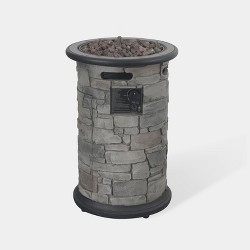 Greystone Round Fire Column - Dark Gray Bond
