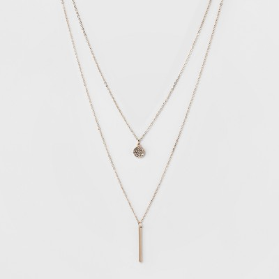 Pave Circle and Thin Bar Two Row Short Necklace - A New Day™ Rose Gold/Clear