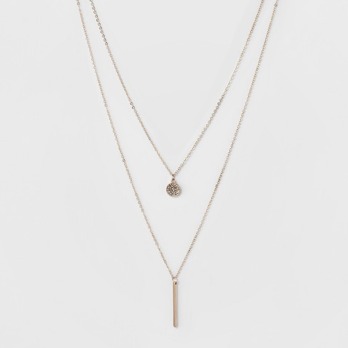 Pave Circle and Thin Bar Two Row Short Necklace - A New Day™ Rose Gold/Clear - image 1 of 3