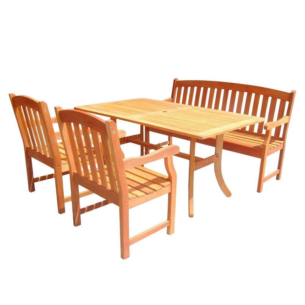 4pc Rectangle Wood Patio Dining - Brown - Vifah