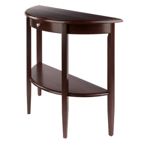 Concord Hall / Console Table, Half Moon with Drawer, Shelf - Antique Walnut - Winsome - image 1 of 4