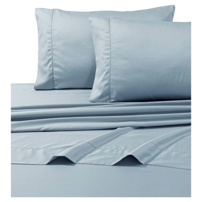 Egyptian Cotton Sateen Deep Pocket Solid Sheet Set (Queen)4pc Blue 800 Thread Count - Tribeca Living®