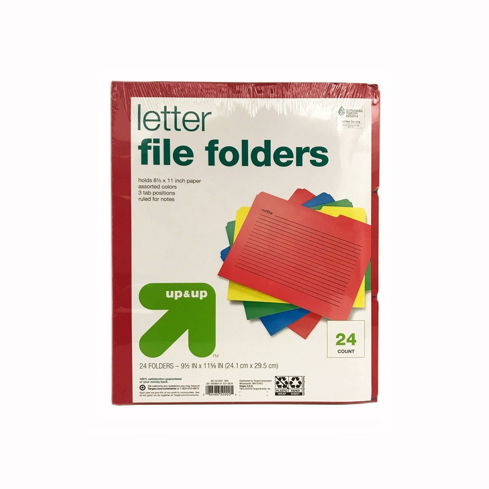 24ct Letter Size File Folders Primary Colors - up & up Compare