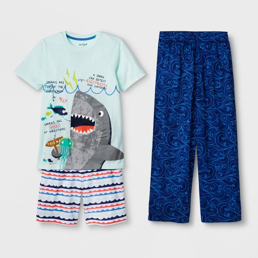 Boys' 3pc Shark Graphic Pajama Set - Cat & Jack Light Green L